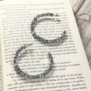 JEWELED SILVER GLITTER STATEMENT HOOPS